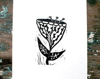 """flower linoleum block print - 9"""" x 12"""" wall art"""