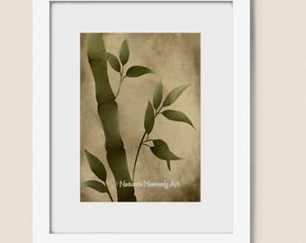 Brown Nature Inspired Bamboo Art Print 5 x 7, Green Home Decor, Earthy Colors, Asian Wall Art, Grass