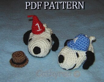 Snoopy Baby Booties, Wearing Fedora Hat, Birthday Hat and Sports Hat -INSTANT DOWNLOAD Crochet Pattern