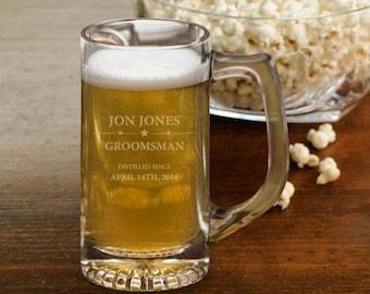 Groomsmen Beer Mug - Personalized 12 oz. Beer Mug - Groomsmen Beer mug - Personalized Beer Mug - Groomsmen Gifts - 1424