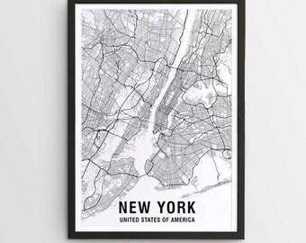 New York Map Print, Black & White Map Print, USA / New York Print / NYC / Map of New York / City Map Print / City Art / Art Prints / Poster