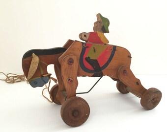 vintage wooden pull toy donkey & rider