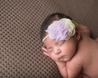 Baby Girl Headband, Newborn Headband, Newborn Photo Prop, Lavender and Ivory Headband, Photography Prop, Headband