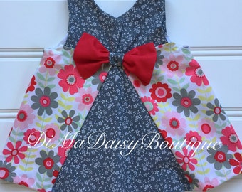 Floral Baby Sundress, Baby Girl Dress, Baby Summer Dress, Toddler Dress, Little Girl Dress, Red Dress, Infant Dress, Newborn Dress