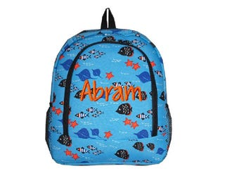 Personalized Blue Ocean Fish Full Size Backpack - School Size Backpack Book  Bag - Great as e481b563d0e76