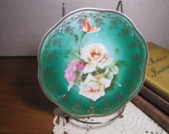 Z. S. & Co. - Mignon - Small Plate - Dark Green Backgroun - Rose Pattern - Gold Accent - Scalloped Edge - Made in Bavaria