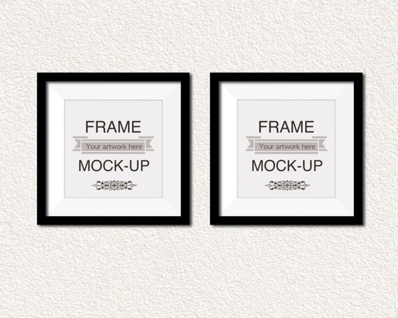 Double frame mockup, any square image, white texture wall, black ...