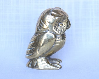 Solid Heavy Brass Owl Figurine, Made in Canada Brass Owl Paperweight, Vintage Brass Owl Statue, Collectible Owl Decor Figurine