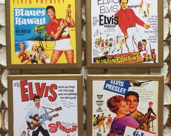 COASTERS!! Vintage Elvis movie posters coasters with gold trim
