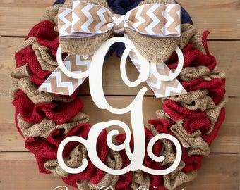 Front Door Wreath | Patriotic Burlap Wreath | Americana Wreath | July 4th Wreath | Red Blue Wreath | Independence Day Wreath
