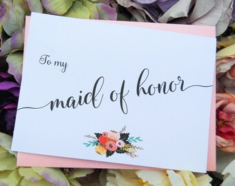 MAID of HONOR CARD, Wedding Party Cards, Maid of Honor Thank You Card, Maid of Honor Gift, Wedding Day Cards, Wedding Thank You Cards