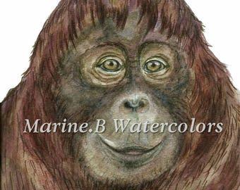 Watercolor Orangutan  Nursery Art Print 8 x 10 in