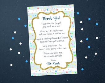 Personalized Thank You Card Baby Shower Sprinkle Colorful Pastel Polka Dots Gold Accent Light Blue Stripes Printable DIY - Digital File