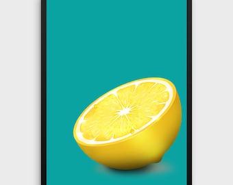 Lemon Print   Lemon Poster, Lemon Art, Lemon Wall Art, Lemon Wall Decor, Kitchen Print, Kitchen Poster, Fruit Print, Fruit Poster