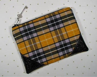 Hufflepuff House Plaid Pouch, Hogwarts House Plaid Pouch, Harry Potter inspired pouch