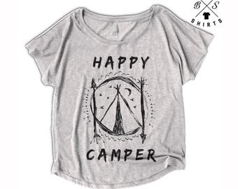 10% OFF SALE, Womens Camping Shirt - Happy Camper - Outdoors Shirt - Womens Hiking Shirt - Hiking - Camping
