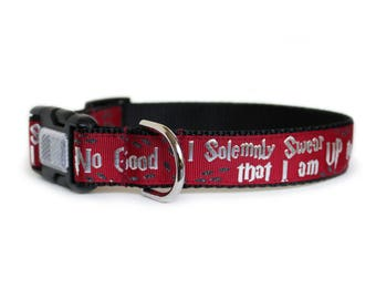 Harry Potter Dog Collar I Solomnly Swear, Matching Leash Available, 3 Buckle Choices, Reflective Dog Collar- Up to No Good