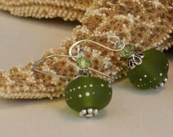 Peridot Green Earrings, Yellowish Green Lampwork Earring, Dressy Olive Green, Bridal Earring, August birthday, Peridot Jewelry, Gift for Her