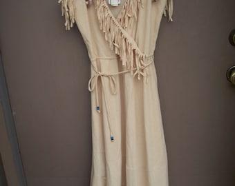 Ladies 1970's Tan Fringe Faux Wrap Dress  Size 11/12