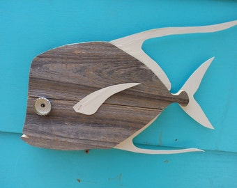 Lookdown made of recycled fence wood. Fish art decor
