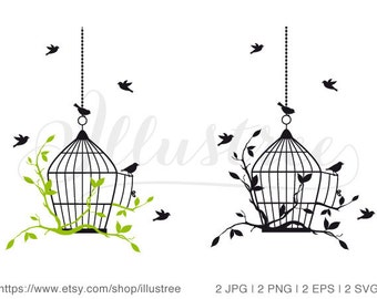 Birds with open birdcage, digital clip art, clipart, housewarming party, home decor, printable wall art, JPG, SVG, EPS, instant download