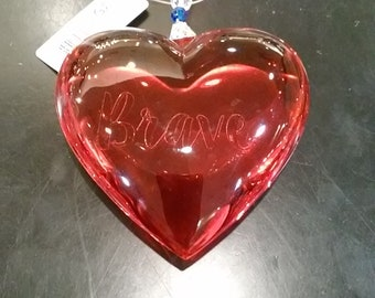Red Heart Crystal Ornament-  Brave
