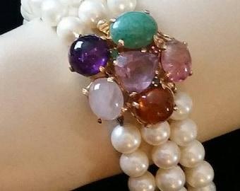 Vintage, Genuine Pearl Bracelet, Gorgeous, 3 Strand, Genuine Pearls, 14K Gold, and Gemstones, Vintage 1950's Estate, Wedding Bracelet