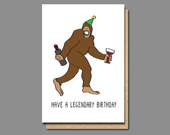 funny birthday card, big foot card, birthday sister card, birthday brother card, friend birthday card, birthday card boyfriend, withpuns