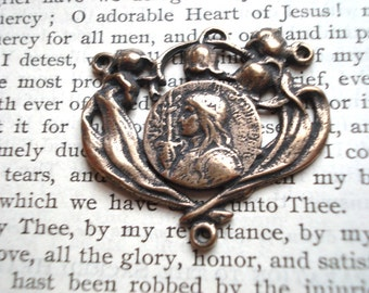 """St. Joan of Arc Rosary Center -  1 1/8"""" - Vintage Replica - Made in the USA  (R54-1092)"""
