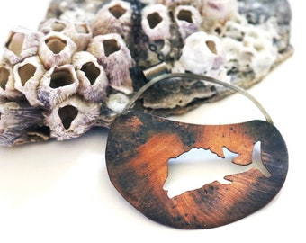 One of a Kind Copper and Silver Trunkfish Necklace