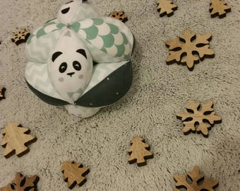 Ball bells pattern Montessori type grip panda and scales - personalized with the name of your little one