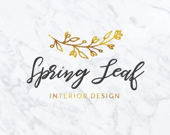 Premade Logo Design | Watercolor Logo Design | Photography Logo | Branding Set | Gold Foil Logo | Custom Logo Design | Marketing Kit | #47