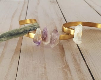 Crystal Cuff | Natural Stone Bracelet | Crystal Bracelet | Gold Cuff