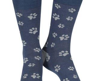 Paw Prints soft bamboo organic crew sock, denim | seriouslysillysocks