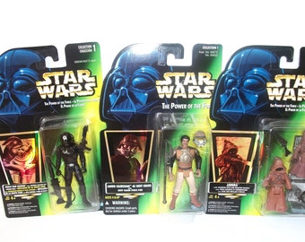 Vintage Star Wars Power of the Force Jawas Death Star Gunner Lando Calrissian Mint Action Figures 1996 MOC