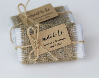 Wedding Favor Tag - SMALL Size - Mint to be - Custom Tag -  1.75 x 1 inches