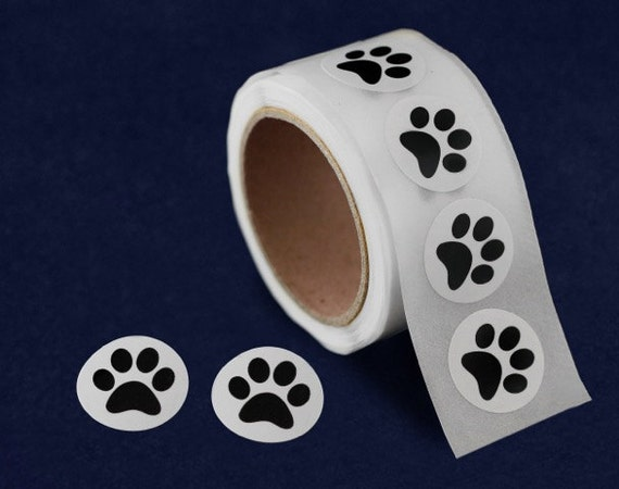 250 round 3 4 inch small paw print stickers 250 stickers