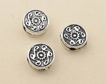 2pcs 9mm 925 Sterling Silver Emboss rondlle Mala Beads / Findings / Spacer, Antique Silver Ethnic Bead
