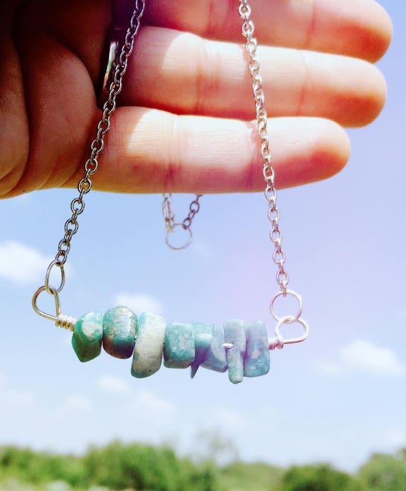 Amazonite Bar Necklace-Minimalist Necklace-Gemstone Necklace-vegan necklace-vegan jewelry-healing crystals-Boho Necklace-Boho Jewelry-gift