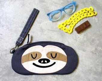 Sloth Zip Purse, Sloth Zip Pouch, Sloth Wristlet, Sloth Wrist Clutch, Sloth Purse, Sloth Pouch, The Slothful One - GRAY SLOTH