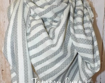 Gray Ivory Stripe Fringed Square Blanket Scarf Fall Winter Christmas Women's Accessories