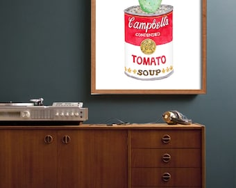 Campbell's Soup Cactus DIGITAL FILE: andy warhol inspired campbell, campbell soup, warhol prints, kitchen wall art, kitchen prints