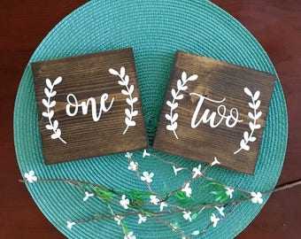 Set of 10 Wedding Table Number Signs, Rustic Table Number Signs, Wedding Reception Signs, Wedding Decor