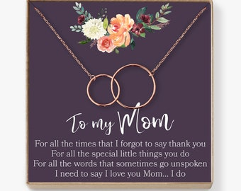 Mom Necklace: Mother Necklace, Mom Gift, Mother's Day Gift, Mother's Day Necklace, Mother Daughter Gift, 2 Interlocking Circles