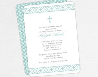 First Communion Invitation, First Holy Communion Invitation, Religious, Printed, PDF, DIY Communion Invitation, Boy Invitation, Blue, Chris