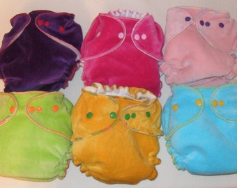 6 pack cotton velour fitted diapers with snaps
