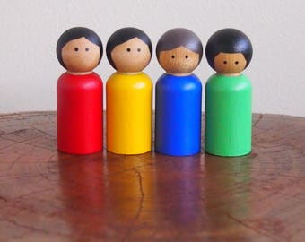 Handpainted rainbow peg dolls - Waldorf / Steiner style, set of 4 (red, yellow, green and blue in purple felt with blue ribbon)