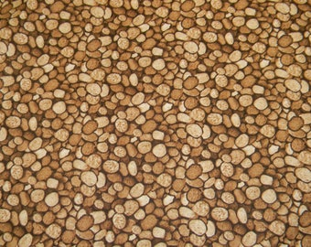 Pebble fabric by half yard, rocks print fabric, brown pebbles printed quilting cotton, brown rocks quilting fabric, pebbles sewing fabric