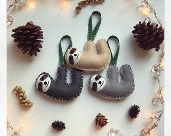 Hanging handmade felt sloth - Christmas tree / nursery decoration / animal ornament / home decor