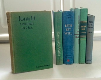 Ocean Blue Green Decorative Books, Rustic Book stack, Book Set Decor, Instant Library